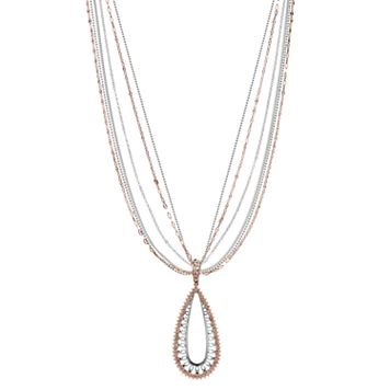 Jennifer Lopez Two Tone Multi Strand Teardrop Pendant Necklace