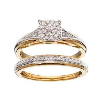 14k Gold Over Silver 1/6 Carat T.W. Diamond Square Engagement Ring Set