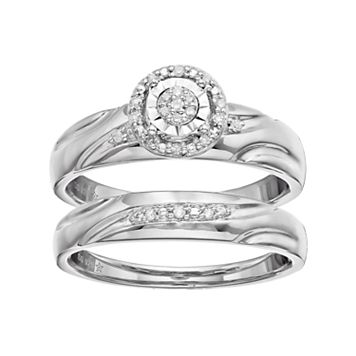 Sterling Silver Diamond Accent Halo Engagement Ring Set