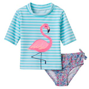 Baby Girl Carter's Striped Flamingo Rashguard & Floral Swim Bottoms Set