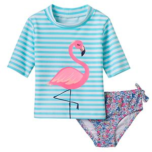 Baby Girl Carter's Striped Flamingo Rashguard & Floral Swim Bottoms Set