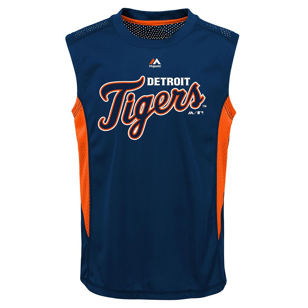 Boys 8-20 Majestic Detroit Tigers Foul Line Muscle Tee