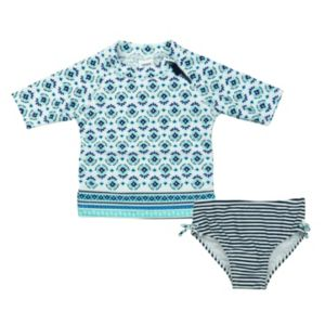 Baby Girl Carter's Pattern Rashguard & Striped Swimsuit Bottoms Set