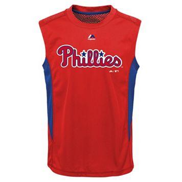 Boys 8-20 Majestic Philadelphia Phillies Foul Line Muscle Tee