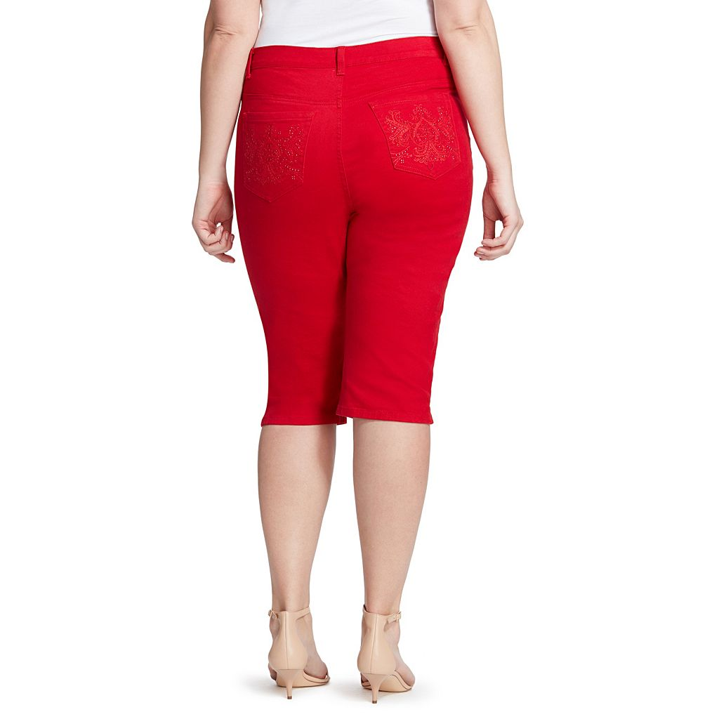 Plus Size Gloria Vanderbilt Amanda Embellished Skimmer Capris