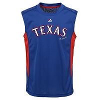 Boys 8-20 Majestic Texas Rangers Foul Line Muscle Tee