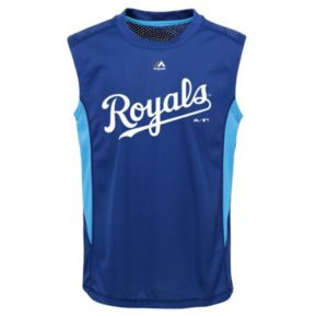 Boys 8-20 Majestic Kansas City Royals Foul Line Muscle Tee
