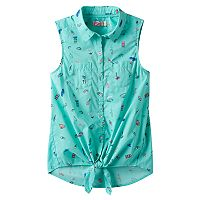 Girls 7-16 SO® Button-Down Patterned Tie-Front Top