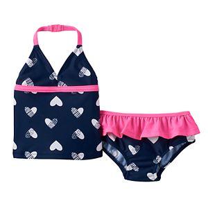 Baby Girl OshKosh B'gosh® Heart Halterkini & Ruffled Swim Bottoms Set