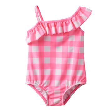 Baby Girl Carter's Gingham Asymmetrical-Neck Swimsuit