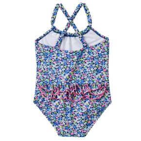 Baby Girl Carter's Floral Ruffled-Back One-Piece Swimsuit