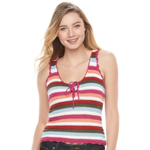 Juniors' Candie's® Striped Knit Lace-Up Tank