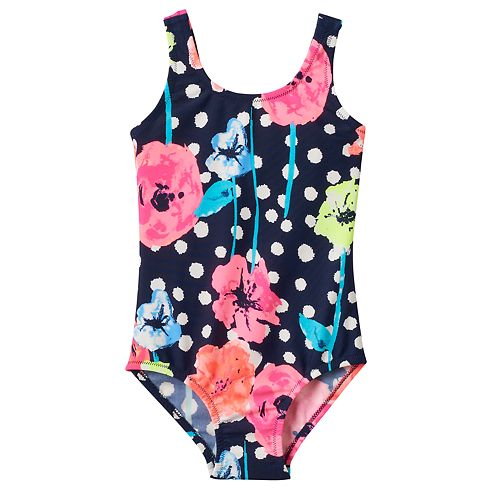 Osh Kosh Baby Girls Dot Floral One Piece Swimsuit