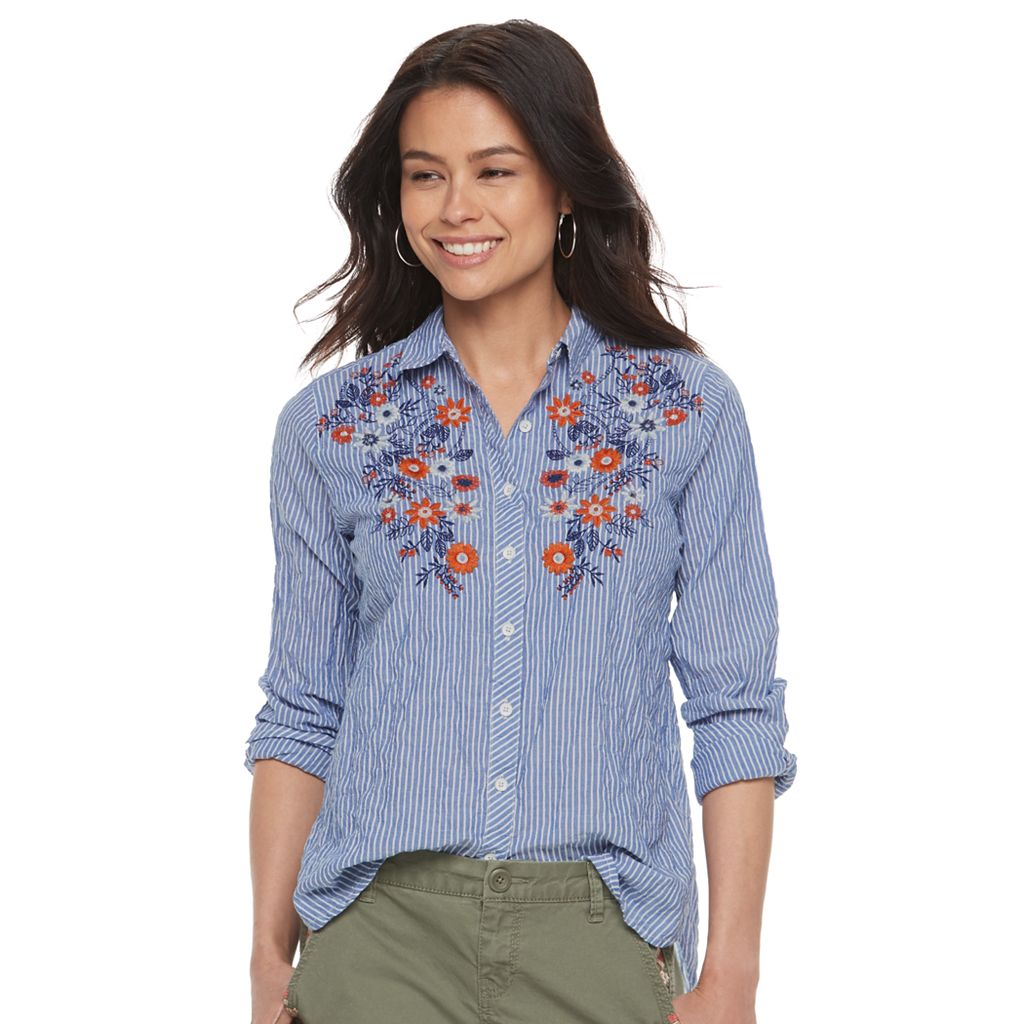 Petite SONOMA Goods for Life™ Embroidered Pinstripe Shirt