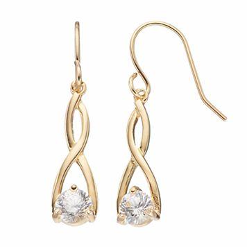 Brilliance 14k Gold Plated Twist Drop Earrings with SWAROVSKI ZIRCONIA