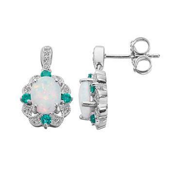 Sterling Silver Lab-Created Opal Scalloped Drop Earrings