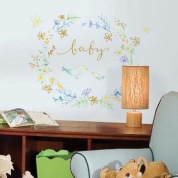 "Kathy Davis ""Baby"" Bird Peel & Stick Wall Decal 10-piece Set by Roommates"