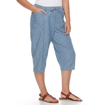 Plus Size Croft & Barrow® Embellished Chambray Sheeting Capris