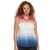 Plus Size Rock & Republic® Sleeveless Button Down Top