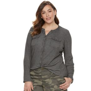 Plus Size SONOMA Goods for Life™ Ribbed Utility Shirt