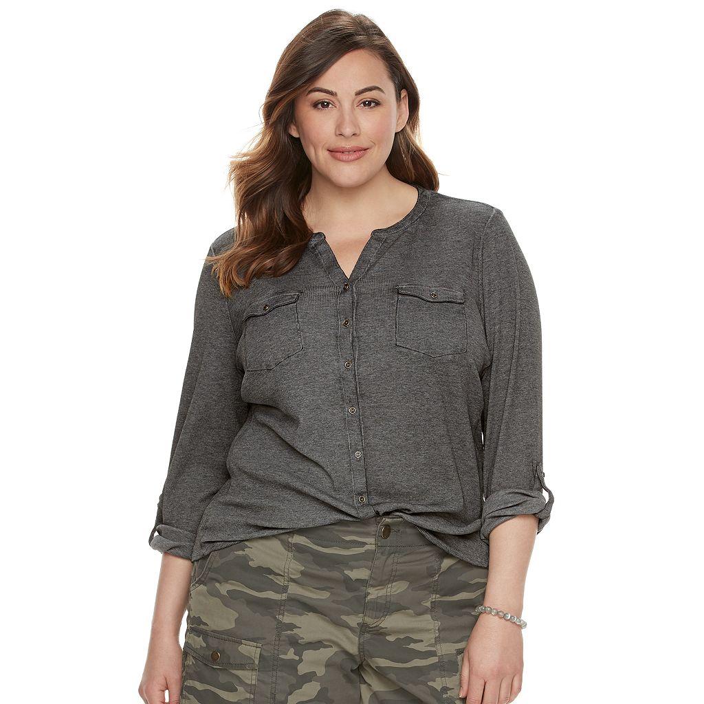 Plus Size SONOMA Goods for Life™ Ribbed Utility Shirt