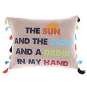 Levtex ''Sun, Sand, Drink, Hand'' Oblong Throw Pillow