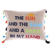 Levtex ''Sun, Sand, Drink, Hand'' Oblong Throw Pillow