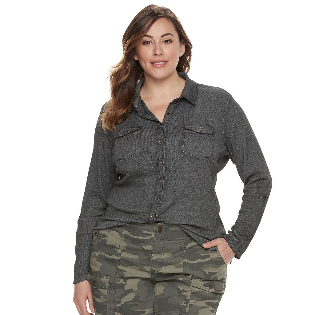 Plus Size SONOMA Goods for Life™ Ribbed Roll-Tab Top