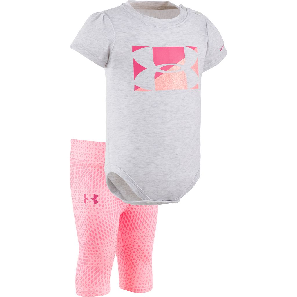 Baby Girl Under Armour Logo Graphic Bodysuit & Striped Capri Leggings Set