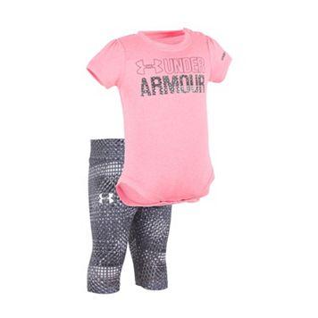 Baby Girl Under Armour Graphic Moisture-Wicking Bodysuit & Grid Capri Leggings Set