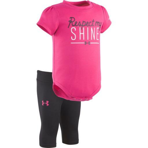 "Baby Girl Under Armour ""Respect My Shine"" Graphic Bodysuit & Capri Leggings Set"