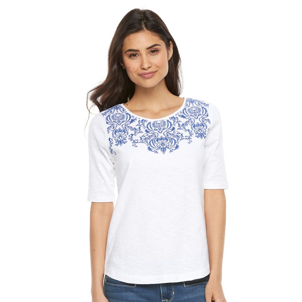 Petite Croft & Barrow® Embroidered Yoke Tee