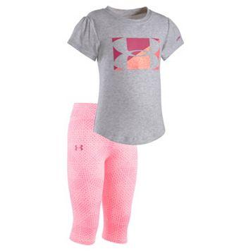 Toddler Girl Under Armour Big Logo Tee & Printed Capri Leggings Set