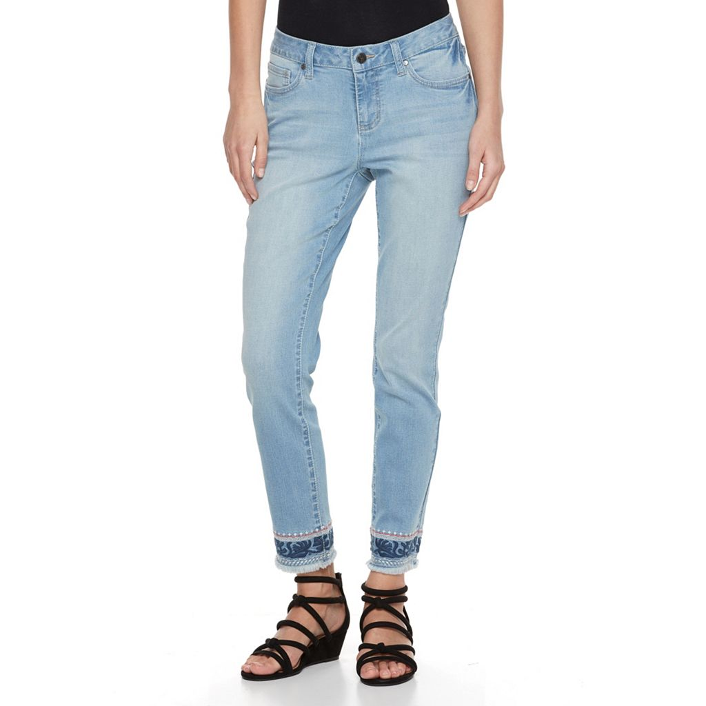 Women's Earl Jean Embroidered Skinny Ankle Jeans