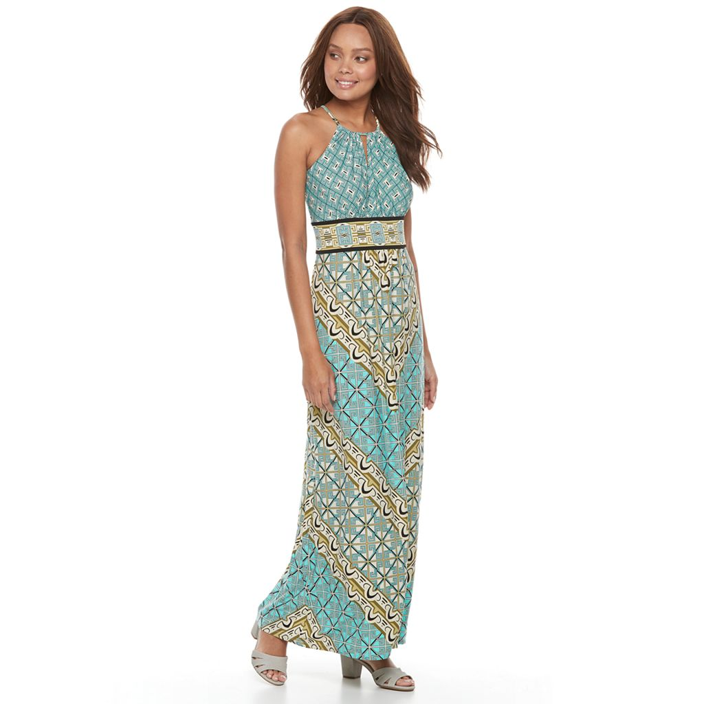 Petite Suite 7 Geometric Halter Maxi Dress