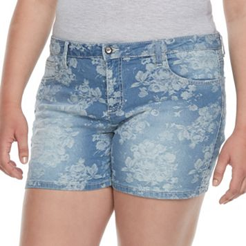 Juniors' Plus Size Candie's® Floral Jean Shortie Shorts