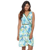 Petite Suite 7 Tropical Faux-Wrap Dress