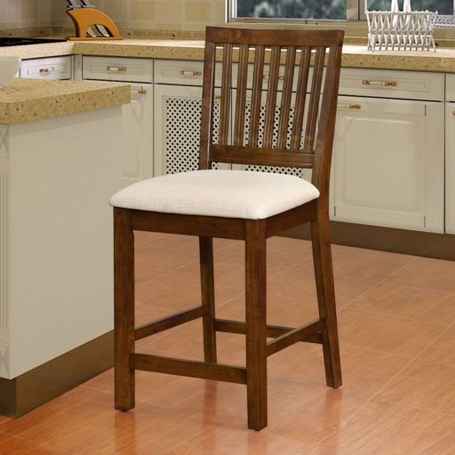Linon Barrett Slat Back Counter Stool