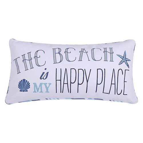 Levtex ''The Beach Is My Happy Place'' Oblong Throw Pillow