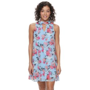 Juniors' Speechless Floral Choker Neck Shift Dress