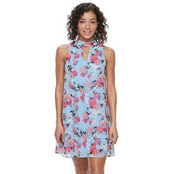 Juniors' Speechless Floral Choker Neck Shift Dress