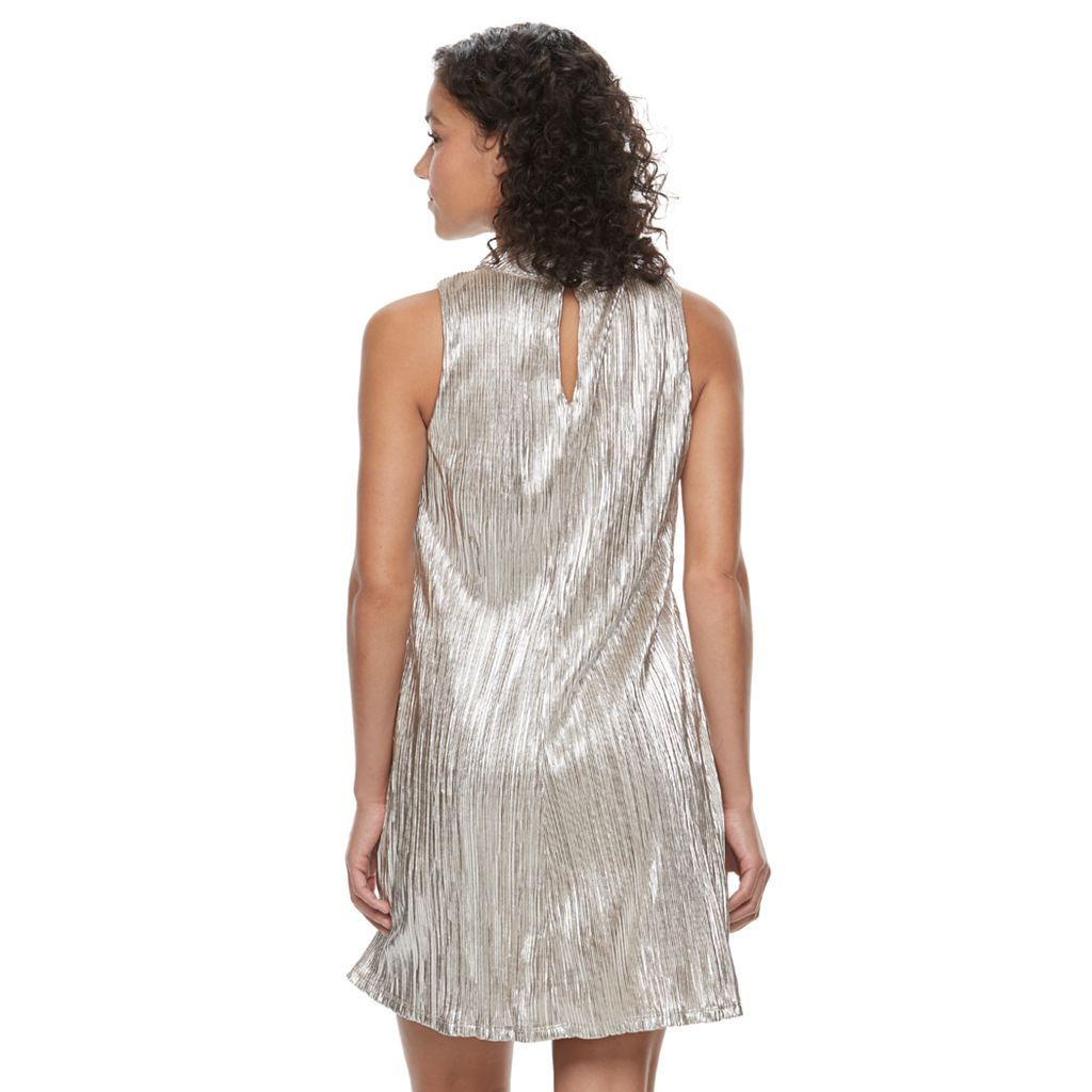 Juniors' Speechless Sparkly Mockneck Shift Dress