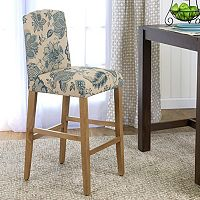 HomePop Lexie Curved Back Floral Bar Stool