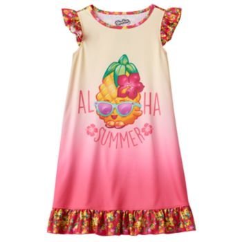 "Girls 4-12 Shopkins Pineapple Crush ""Aloha Summer"" Ruffle Dorm Nightgown"