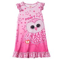 Girls 4-12 TY Beanie Boos Pinky Ruffle Dorm Nightgown