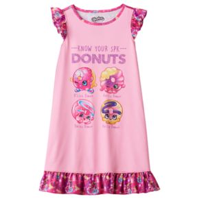"Girls 4-12 Shopkins D'lish Donut, Rolly Donut, Dolly Donut, Daisy Donut ""Know Your SPK Donuts"" Ruffle Dorm Nightgown"