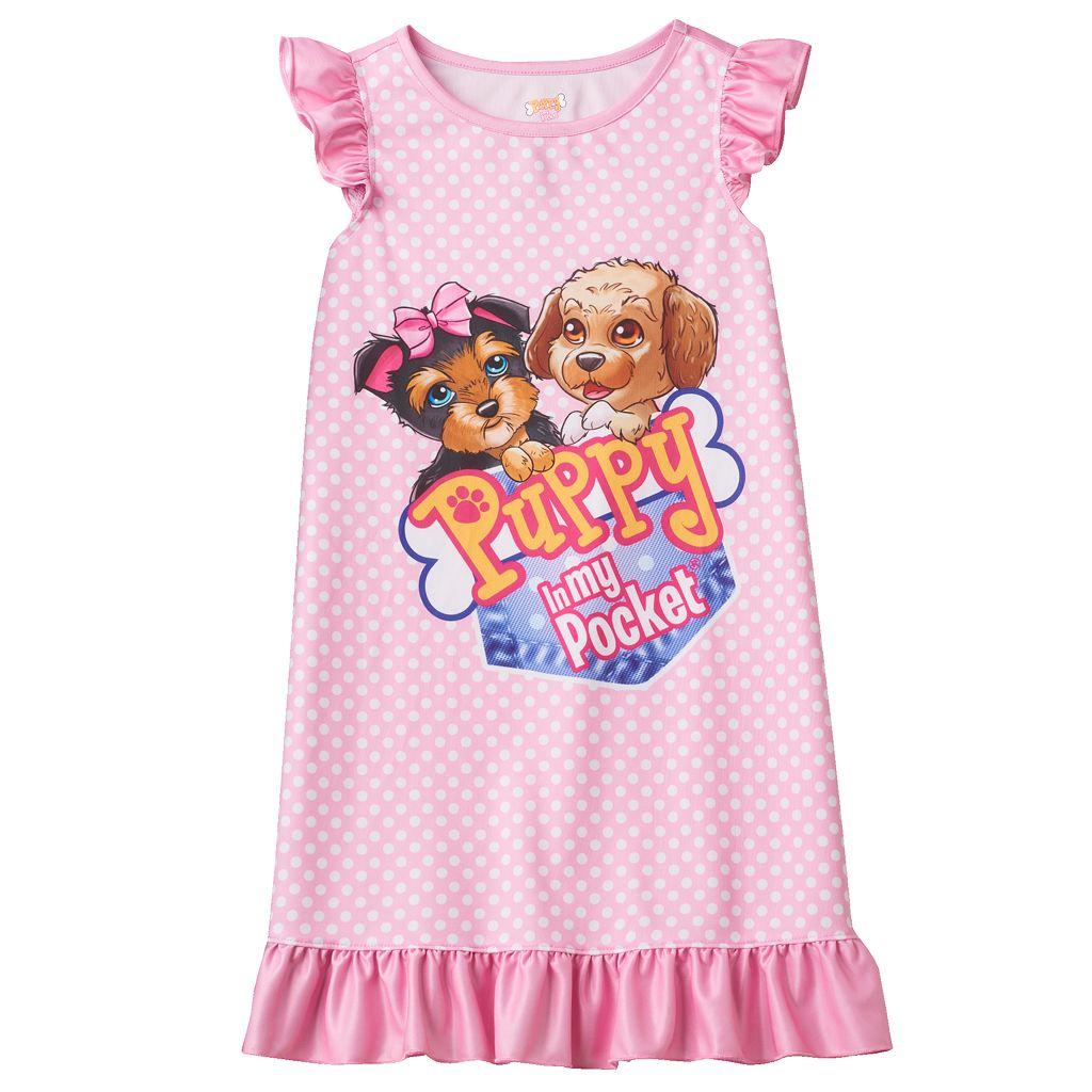 Girls 4-12 Puppy In My Pocket Tessa & Eileen Ruffle Dorm Nightgown