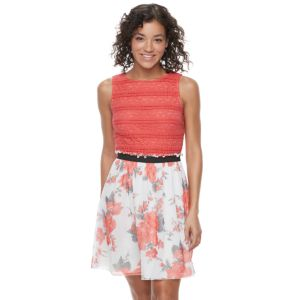 Juniors' Speechless Pintuck Lace Skater Dress