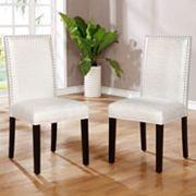 Linon Stewart Nailhead Dining Chair 2 pc Set