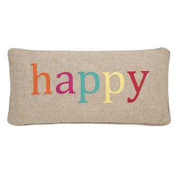 Levtex Ariana ''Happy'' Oblong Throw Pillow
